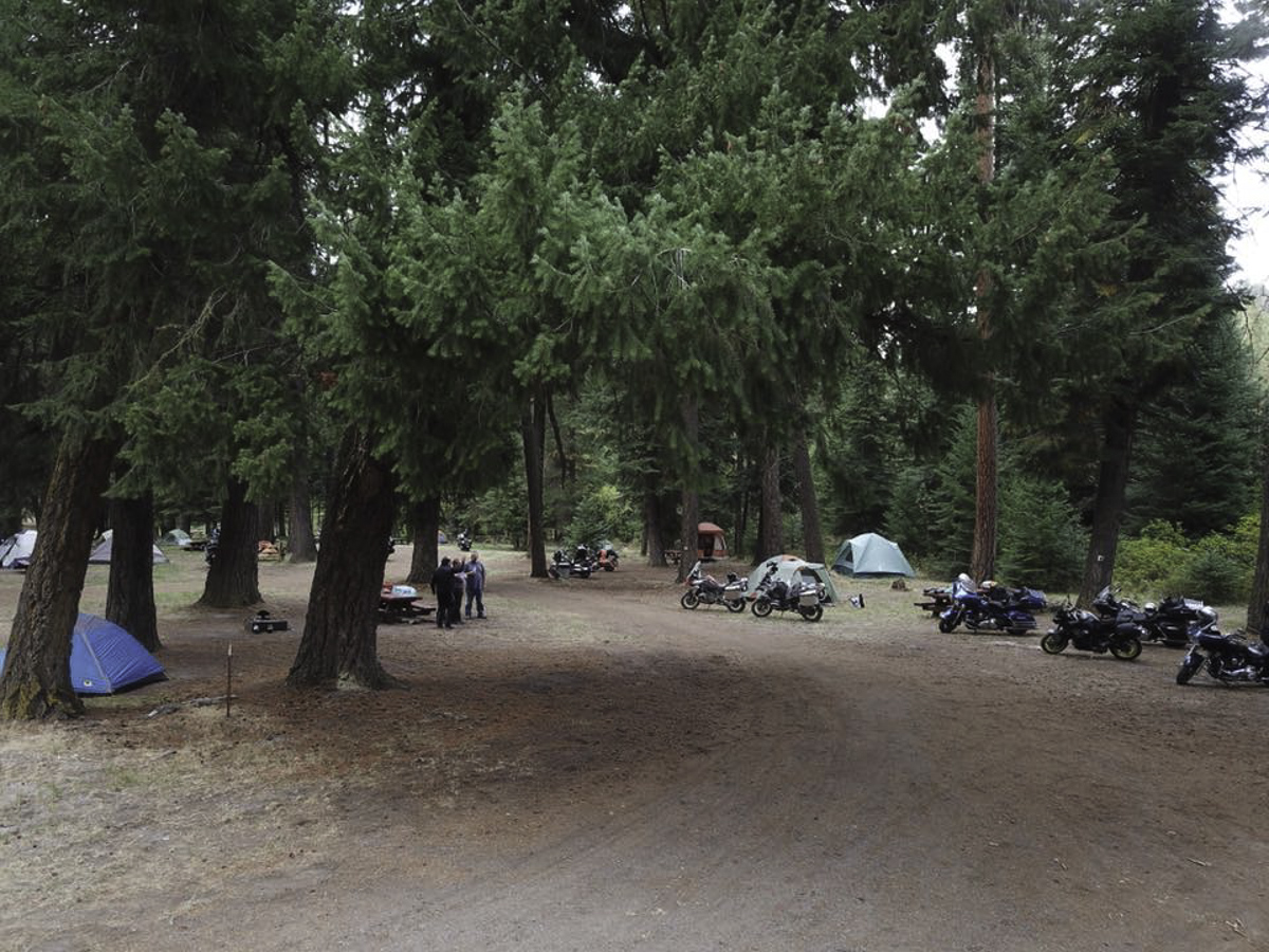 Bikes and tents filling the campground.