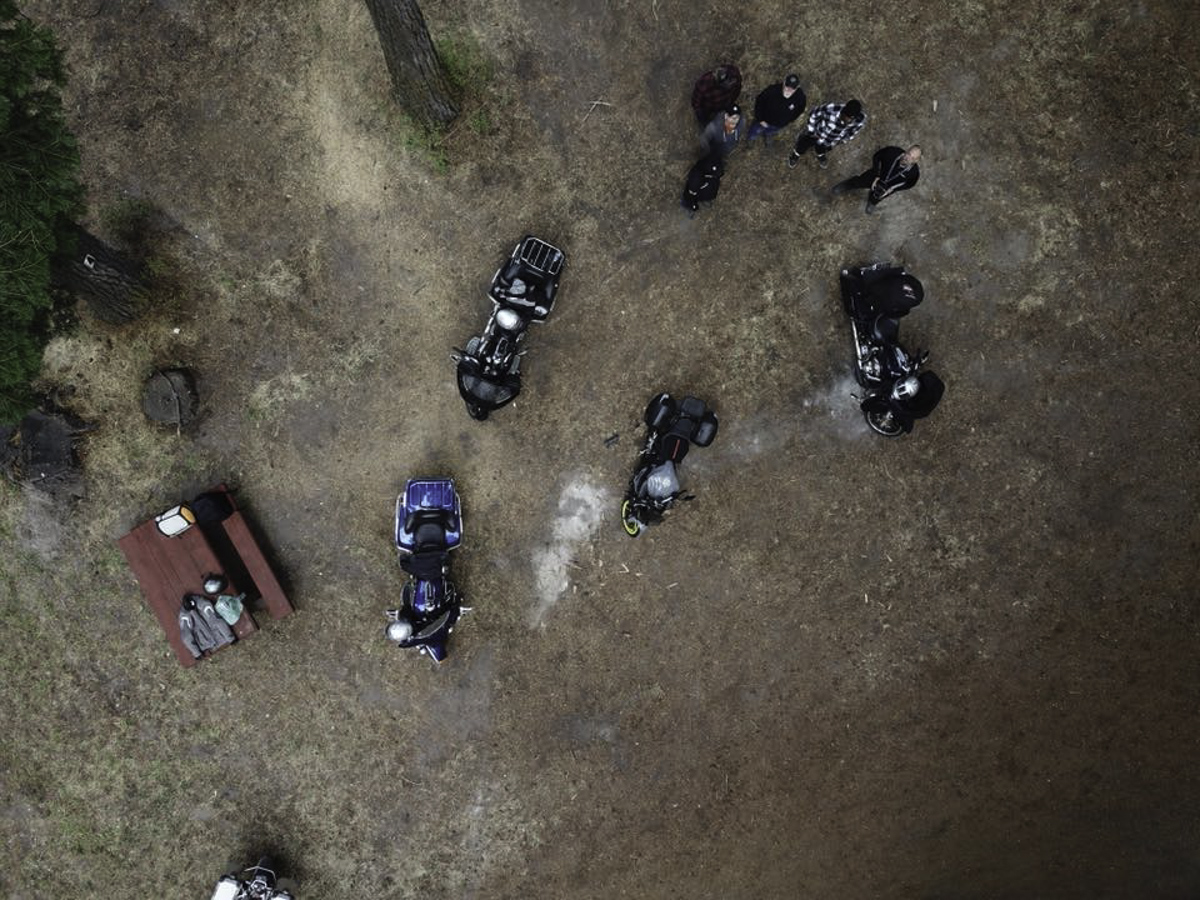Drone's-eye view of some of the bikes at camp.