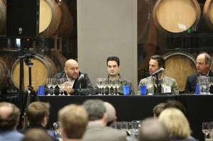 "Members of the ""Relevance and Purpose in California Chardonnay"" at the February IPOB tasting include, from left, Rajat Parr, winemaker, Sanhi Vineyards; Gavin Chanin, winemaker, Chanin Wine Company; Matt Licklider, proprietor, LIOCO; and Bob Varner, winemaker, Varner Wine."