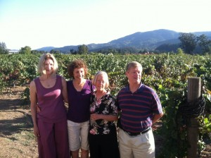 (L-R) Kate Jones, Lucia Gilbert, Cathy Corison (owner and winemaker, Corison Winery), Jack Gilbert. Ctsy Lucia and Jack Gilbert