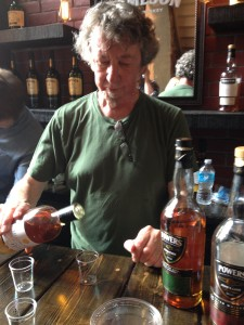 "Gary ""Gaz"" Regan pouring out Yellow Spot Irish Whiskey at the Dead Rabbit popup"