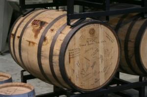 Rye aging in signed barrel at NY Distilling