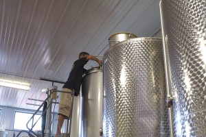 Nick Flora at the fermenter