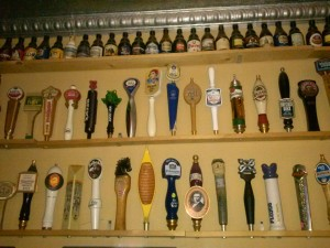 A wall of taps and bottles at Sergio's