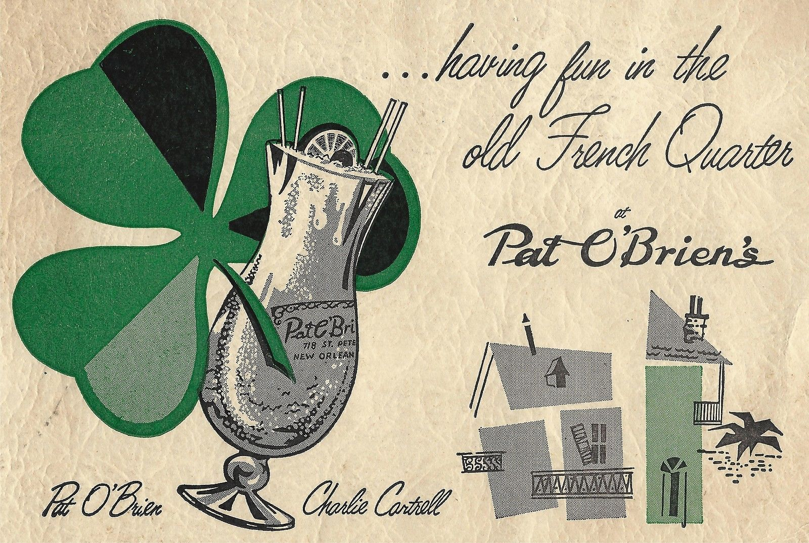 A classic image from Pat O'Brien's – note their signature Hurricane glass!