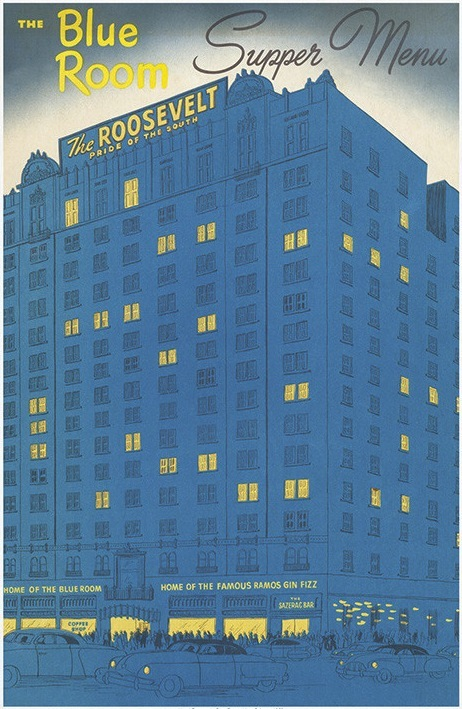 The cover of the Roosevelt Hotel's 1952 menu and drink list