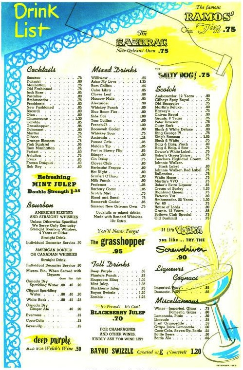 The full cocktail list for the Roosevelt in 1952 – check out those prices!