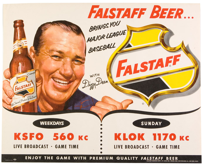 This Falstaff Beer ad presumably dates from the late 1940s or early 1950s, shortly before Dizzy Dean's St. Louis Cardinals were purchased by Anheuser-Busch.