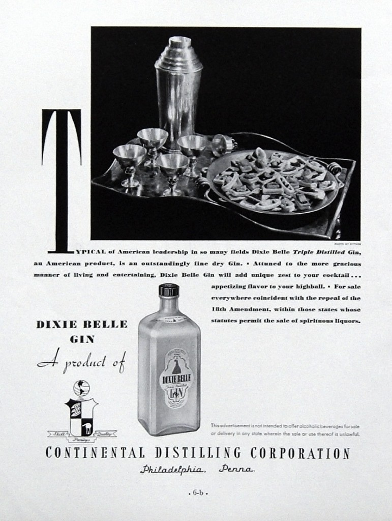 """Dixie Belle, 1933 – """"For sale everywhere coincident with the repeal of the 18th Amendment"""""""