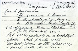 Original handwritten recipe via Bacardi