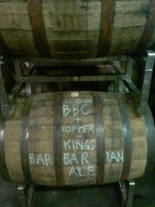 Bluegrass Brewing's Barbarian Ale barrel aging at Copper and Kings, photo by Kevin Gibson