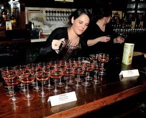 Megan Bardoe pours out her winning Black Gold cocktail