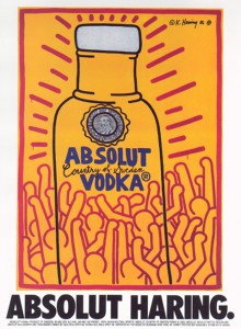 1980s print ad featuring graphic by artist Keith Haring