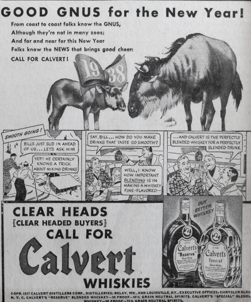 Calvert went for straight-ahead punnery with this 1937 missive.