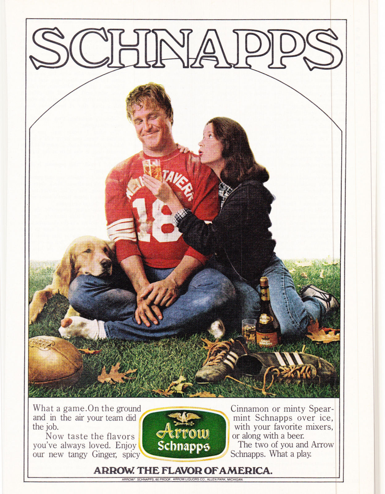 Look closely – that is, in fact, a very young John Goodman in this 1980 ad for Arrow Schnapps.