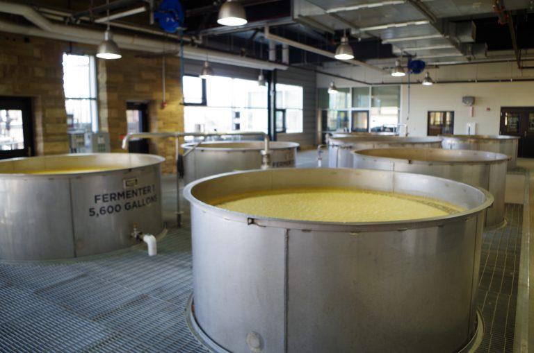 Fermentation tanks at New Riff distillery