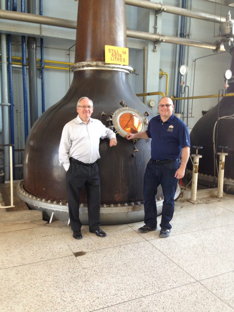 Alcohol Professor founder Adam Levy (r) with Desmond Payne at Beefeater Distillery