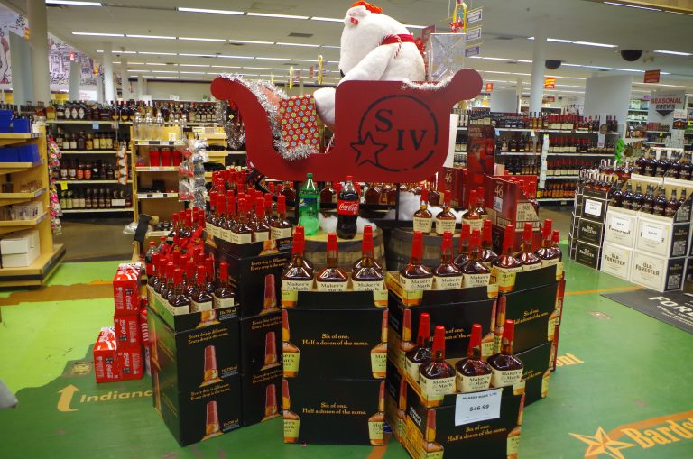 Holiday display at Liquor Barn