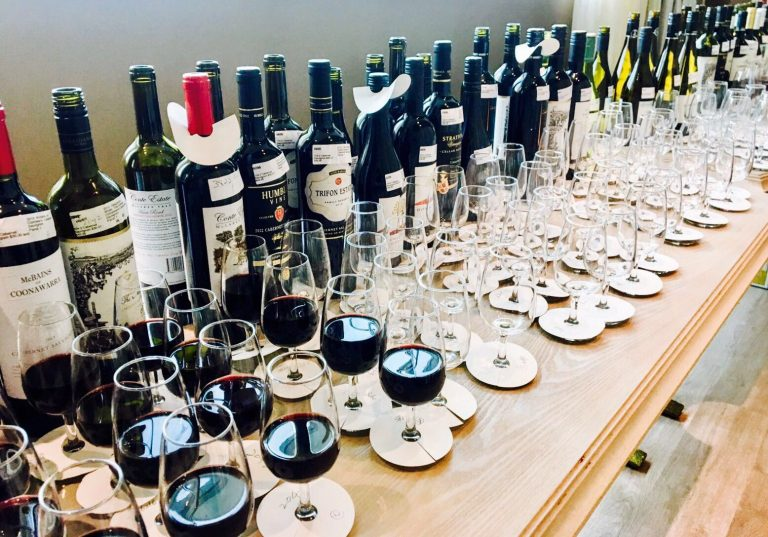 wines lined up for the Asia International Wine Competition earlier this month