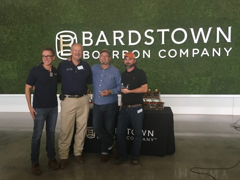 (L-R) Bardstown Bourbon Co.'s president and CEO David Mandell, BBCo. master distiller Steve Nally, Copper & Kings co-founder Joe Heron and C&K's head distiller Brandon O'Daniel