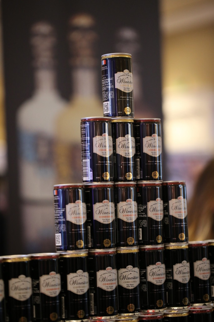 wines in a can on display at WSWA 2017, photo courtesy WSWA