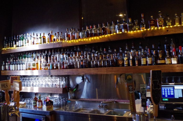 The upstairs whiskey bar at the Avenue Pub