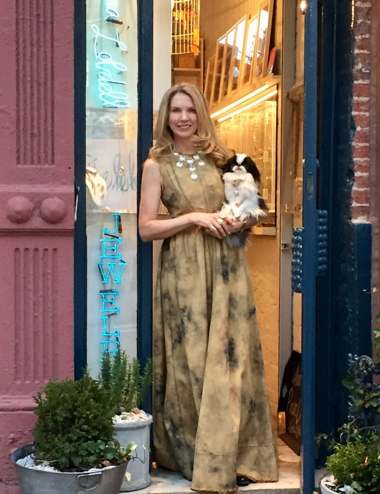 Laura Lobdell and Enzo at the store, photo courtesy Laura Lobdell