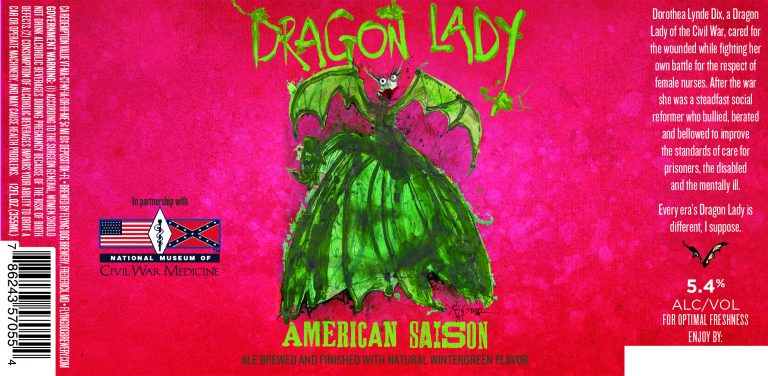 a new Ralph Steadman designed Flying Dog beer label for Dragon Lady, courtesy Flying Dog Brewery