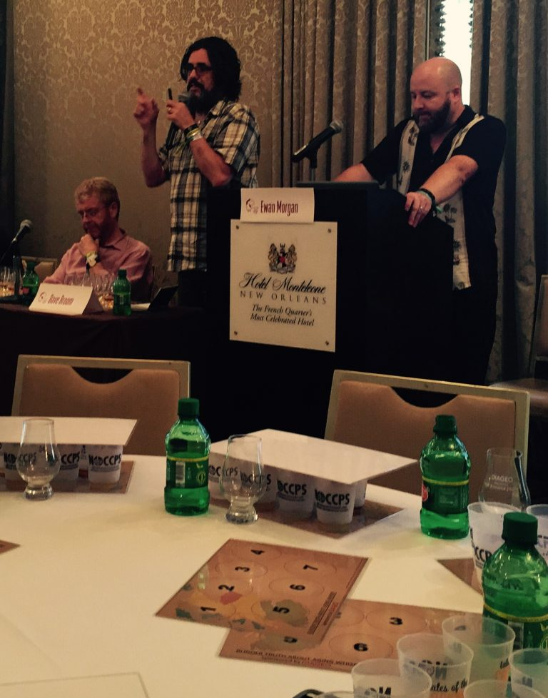 (L-R) Masters of Whisky Dr. Nick Morgan, Dave Broom and Ewan Morgan present a seminar on whisky maturation at Tales of the Cocktail 2015, photo by Amanda Schuster