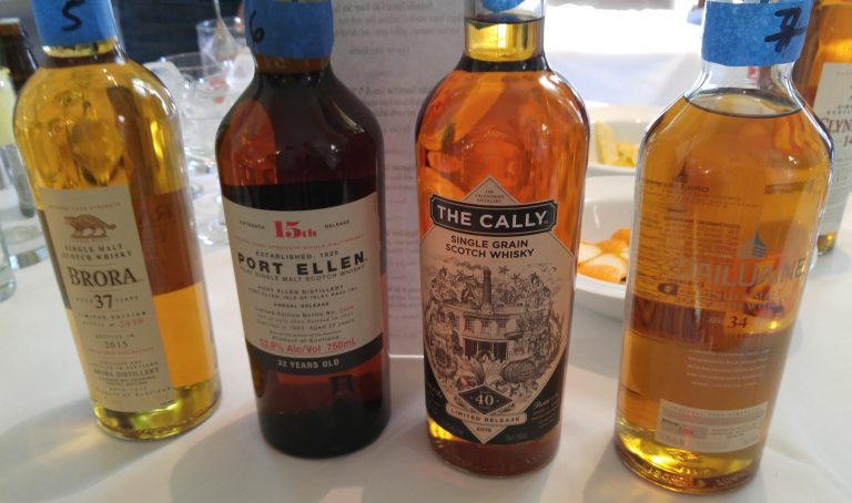 Brora 37 Year, Port Ellen 32 Year, The Cally 40 and Dailuaine 34 Year at the Diageo Special Releases Dinner, photo by Jake Emen