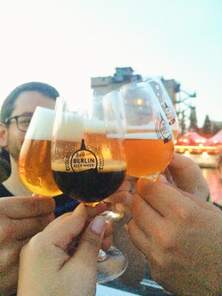 A toast with Stone's Vertical Epic 08.08.08 and Buxton Brewery's Yellow Belly Sundae