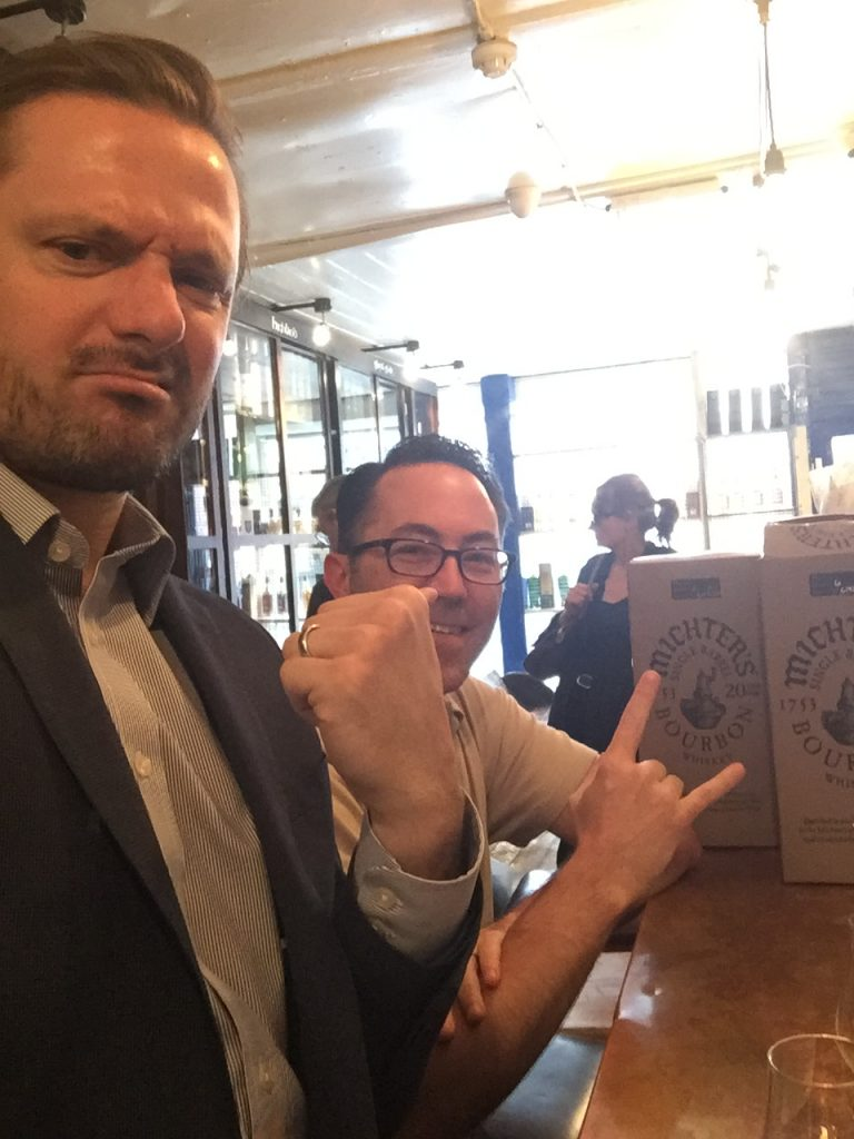 Andrew Watson (L) mugging with Michter's and Bourbon Society pal at Barbecoa, London