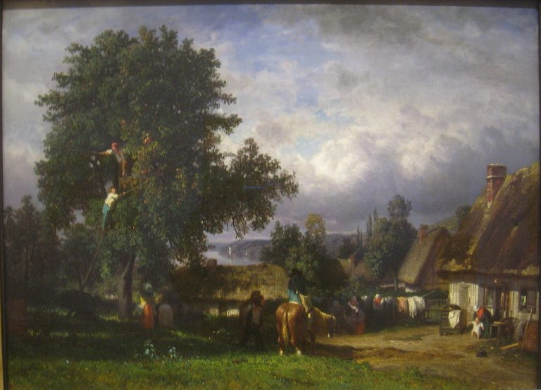 Apple Harvest in Normandy, painting by Constant Tryon (1810 - 1865)