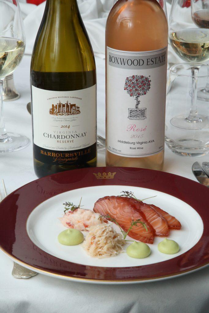 Barboursville Chardonnay Reserve 2014 & Boxwood Estate Rosé 2015 with starters, courtesy R&R Teamwork