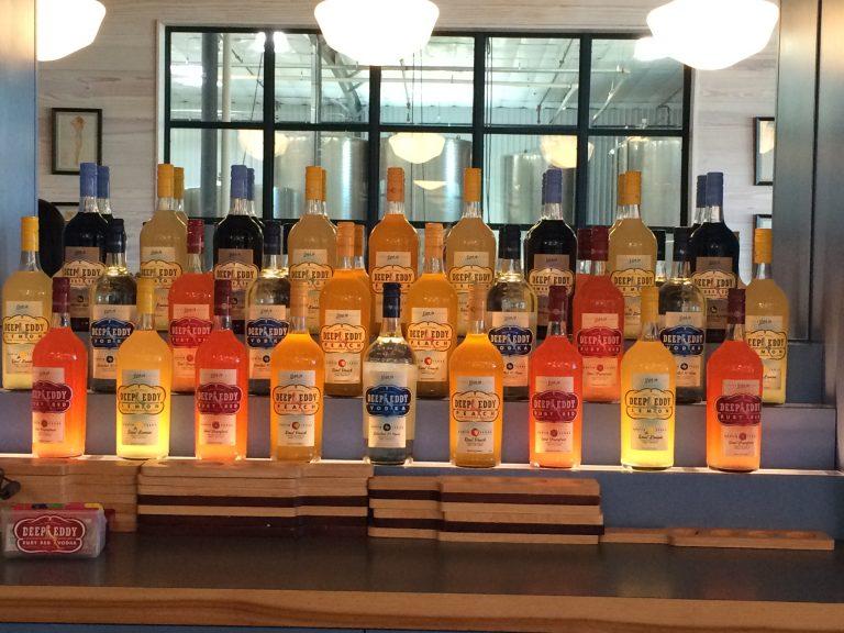 A rainbow of flavors in Deep Eddy Vodka's tasting room.