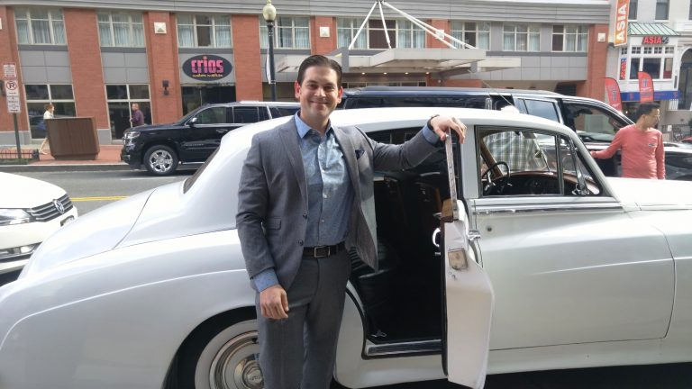 Jake Emen poses with his ride, a 1957 Bentley