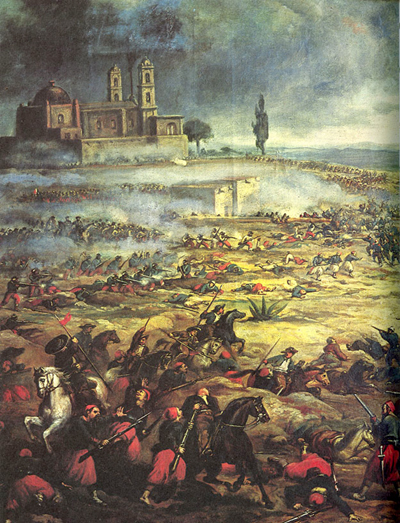 Charge of the Mexican Cavalry at the Battle of Puebla via Wikipedia