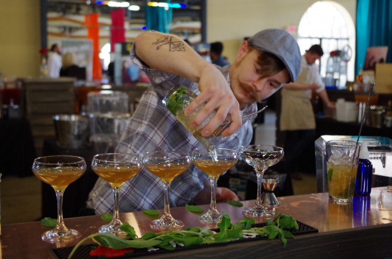 Chad Reid from 8-Up pours his cocktail entry