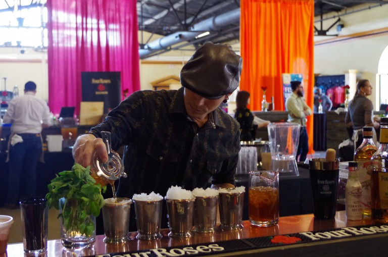 Judge's Choice1st Place Damien Cooke from Proof on Main pouring the Hot to Trot Julep