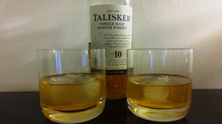 Talisker 10 Year chilled with 3 ice cubes vs. 2