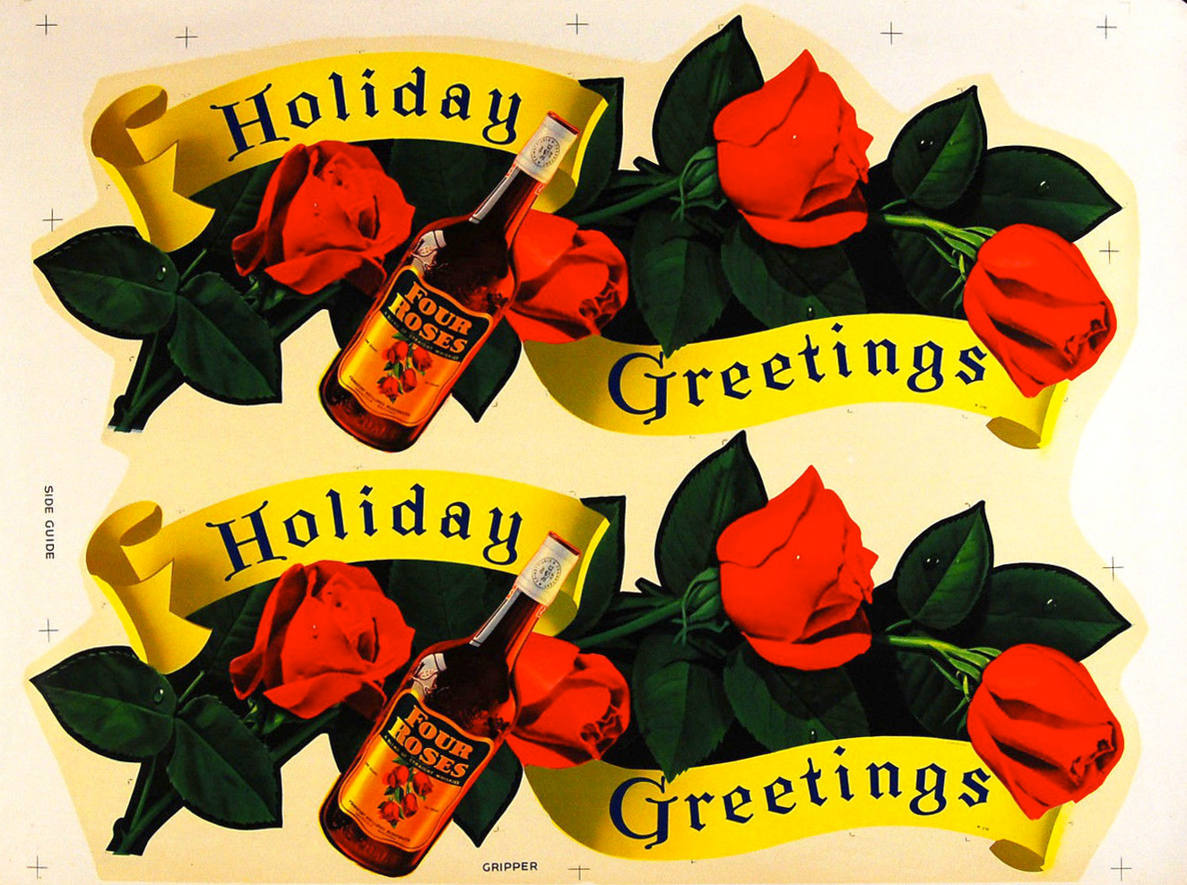 1940s in-store advertising for Four Roses Bourbon