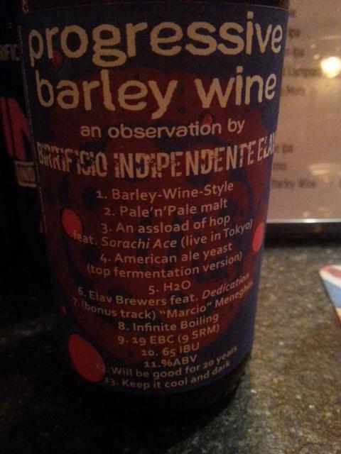 Progressive Barley Wine, photo by Robin Goldsmith