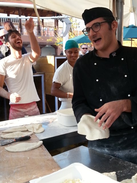 Traditional Italian street food - making 'pizza fritta', Neapolitan deep-fried pizza, at the EXPO, pohoto by Robin Goldsmith