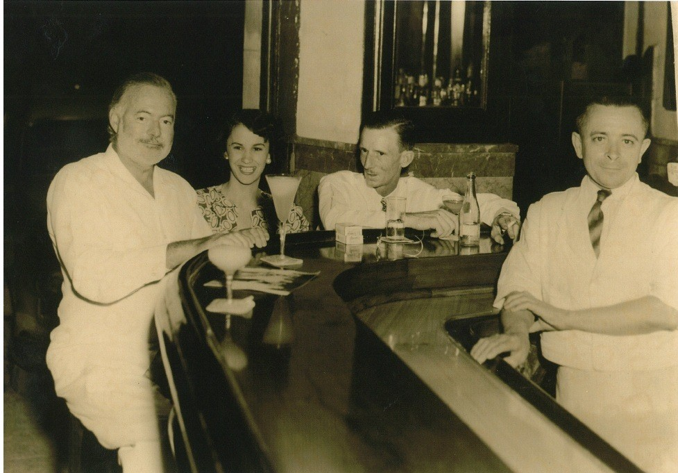 Hemingway, Toby Bruce and unknown woman at the Floridita in Havana, circa 1946, photo courtesy Betty and Toby Bruce Collection