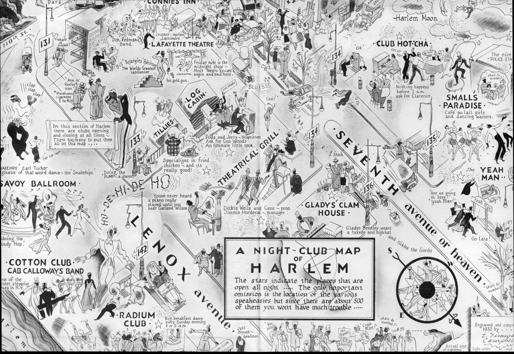 map of Harlem Renaissance clubs, first published in Manhattan Magazine (1932)
