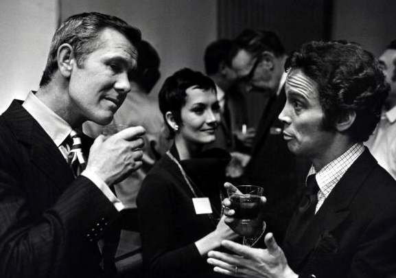 Johnny Carson, left, enjoys a tipple with friends in the 1960s