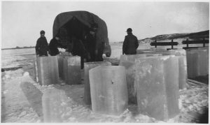 ice cutting in Sand Lake, photo via National Archives