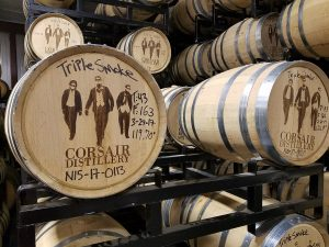 barrels at Corsair Distillery Nashville, photo courtesy Mint Julep Tours