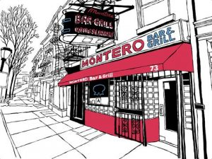 Montero's bar rendered by John Tebeau – from Bars, Taverns and Dives New Yorkers love with permission