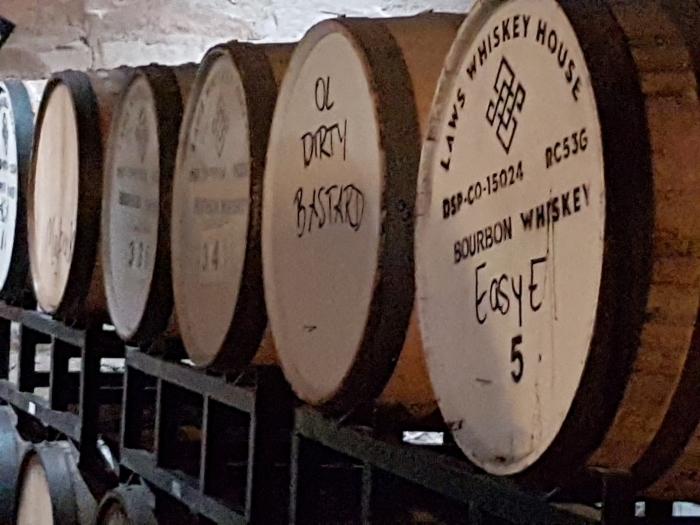 Wynkoop beer aging barrels, photo by Mike Gerrard